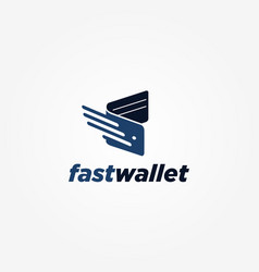 Simple fast wallet logo symbol icon vector