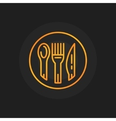 Spoon fork and knife golden icon vector