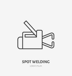 Spot welding equipment flat line icon metal works vector