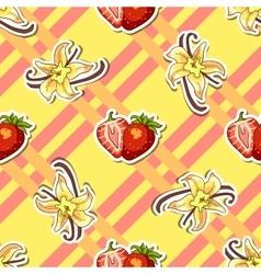 Striped Background Strawberry Vanilla vector image