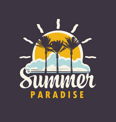 Summer tropical banner with palms sun and clouds vector