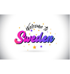 Sweden welcome to word text with purple pink vector
