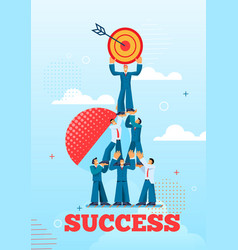 Team business employees rejoice in achieve success vector