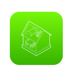 Toy house icon green vector