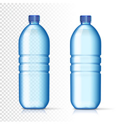 transparent plastic bottles with mineral water vector image