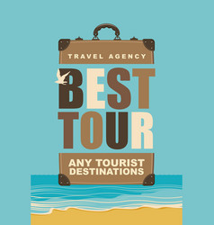 travel banner with seascape and suitcase vector image
