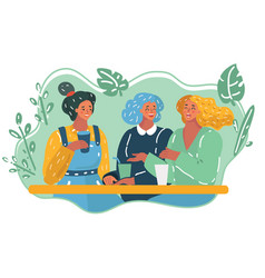 tree girls in cafe vector image