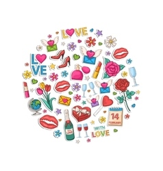 valentines day set in form a circle vector image