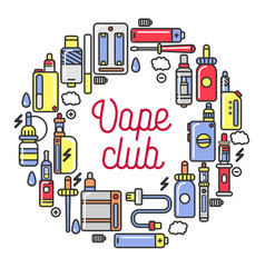 Vape club promotional logotype with devices for vector