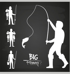 white fisherman silhouette design vector image