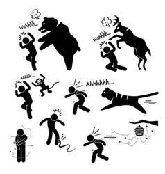 Wild animal attacking hurting human stick figure vector