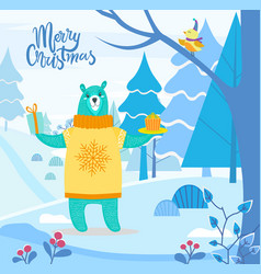 winter landscape and animal with present vector image