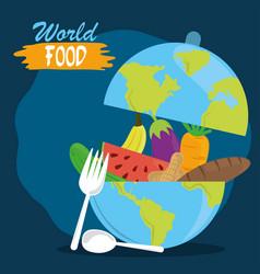 world food day fruits vegetable inside planet vector image