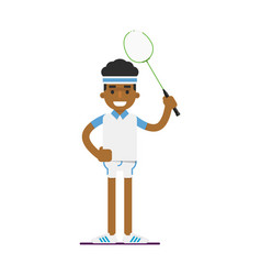 young black man badminton player with racket vector image