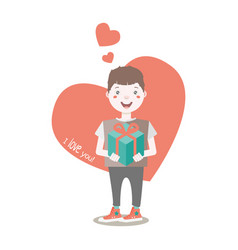young character holding a wrapped gift box vector image