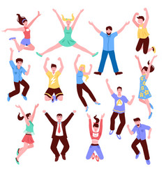 young people jumps collection vector image