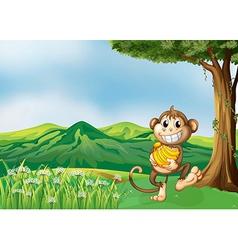 A monkey holding a banana vector image