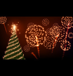 background with christmas tree and fireworks vector image vector image