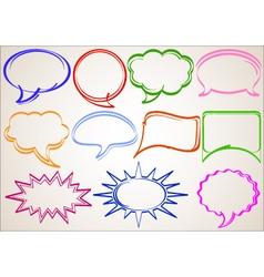 multicolor hand-drawn talking bubbles comic book s vector image