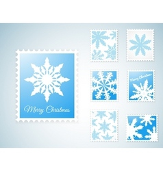 Stamps with snowflakes vector image vector image