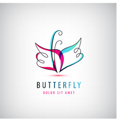 abstract linear logo butterfly business vector image