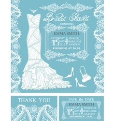 Bridal shower invitationswinter weddingborders vector