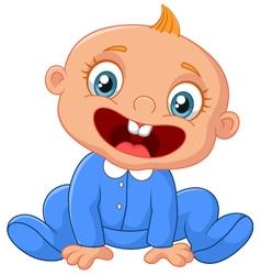 Cartoon happy baby boy vector image