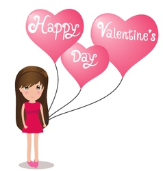 Cute girl Happy Valentine Day holding balloons vector image