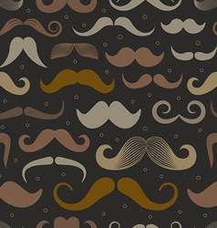 Different retro style moustache seamless patt vector image