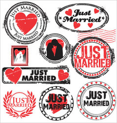 Just married stamps vector image