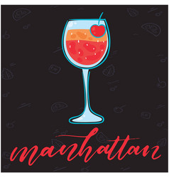 manhattan glass of cocktail black background vector image