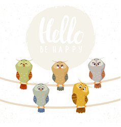 owl set cute vector image vector image
