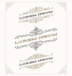 set of elegant vintage ornamental emblems vector image vector image