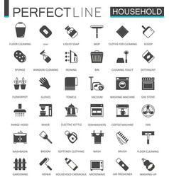 black classic household appliances web icons set vector image