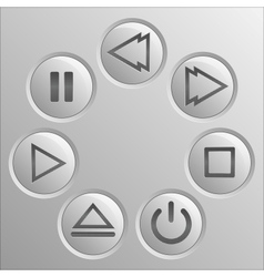 Gray navigation button player set vector image vector image