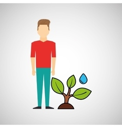 man symbol environment eco tree water icon design vector image