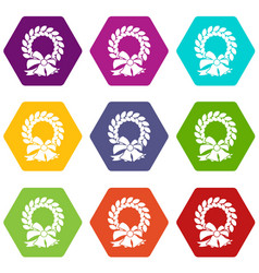 merry christmas wreath icon set color hexahedron vector image