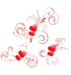 valentine hearts swirl vector image vector image
