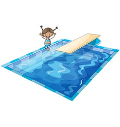 a girl and swimming tank vector image vector image
