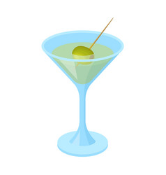 a glass of alcohol with oliveolives single icon vector image