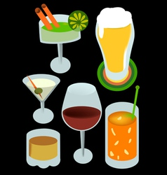 drinks with alcohol vector image vector image