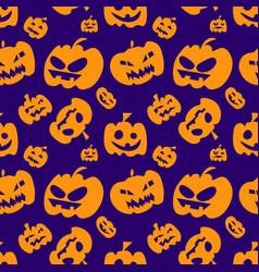 seamless pattern with orange halloween pumpkins vector image