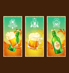 set of isolated cartoon banners with beer vector image vector image