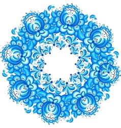 Abstract floral circle in gzhel style vector