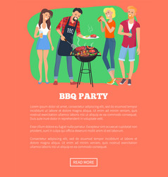 Bbq party web page and text vector