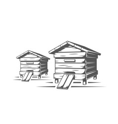 Beehives isolated on white background vector