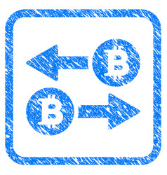 bitcoin transaction arrows framed stamp vector image