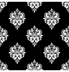 Black and white classic flowers seamless pattern vector image