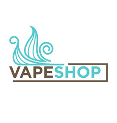 Blue vape shop emblem vector