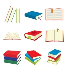 Book flat icons set vector